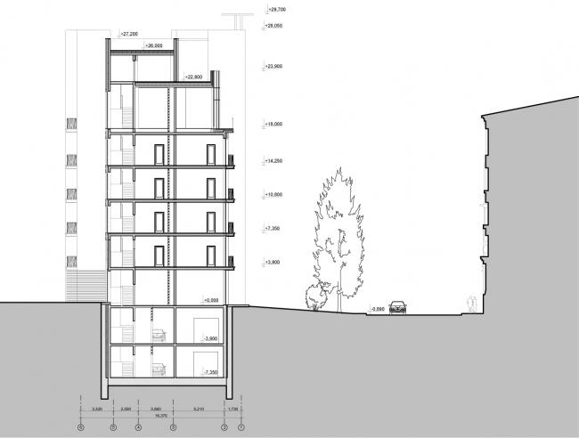 Edison House. Разрез 1-1. Проект 2014 года