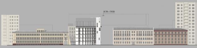 Edison House. Схема развертки фасадов по Электрическому переулку. Проект 2014 года