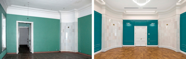 Interior of the central room on the first floor. Left: view before 2016. Right: view after the restoration. The Sytin House restoration project.