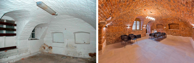 The vaults of the XVII century. Left: view before 2016. Right: view after the restoration. The Sytin House restoration project.