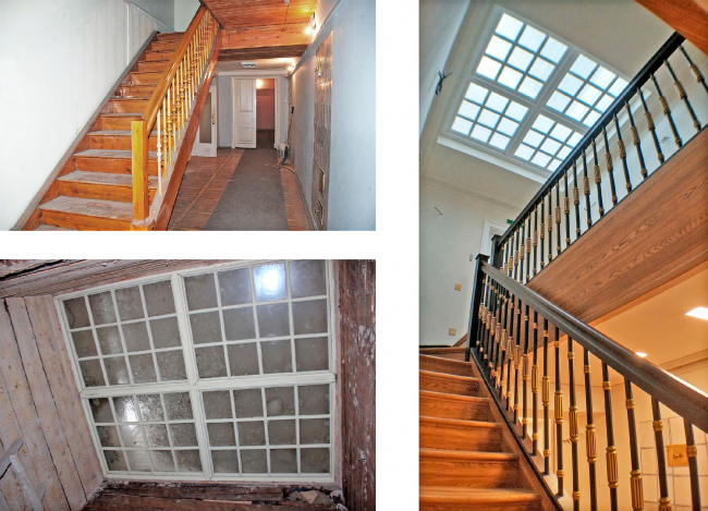 The central staircase and the skylight. Left: view before 2016. Right: view after the restoration. The Sytin House restoration project.
