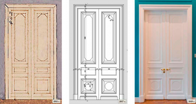 The double door in the grand rooms. Left: view before 2016. Right: view after the restoration. The Sytin House restoration project.