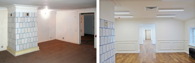 The attic floor. Left: view before 2016. Right: view after the restoration. The Sytin House restoration project.