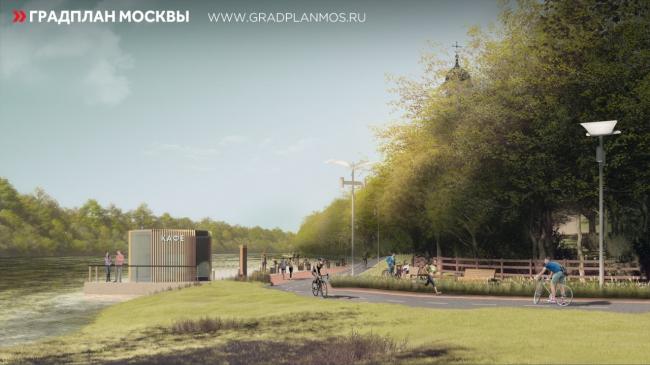 Благоустройство набережной Строгинского затона в районе Троице-Лыкова