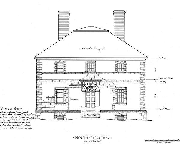 Чертеж дома на плантации Менокин. Historic American Buildings Survey (HABS)