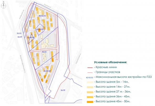 Схема наложения карты предельных параметров  разрешенного строительства на схему генерального плана . Лиговский сити
