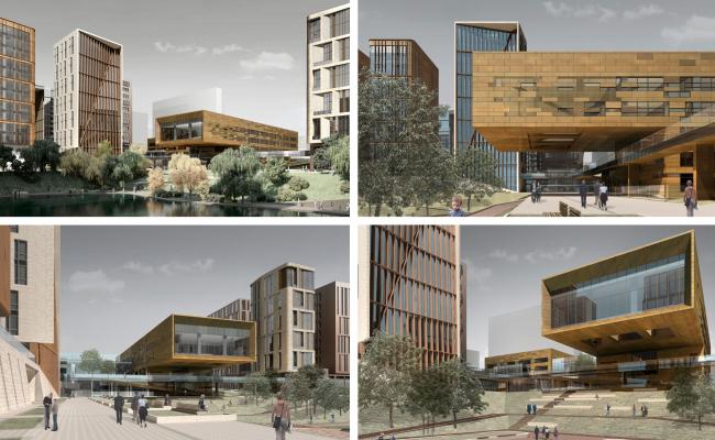 Вторая редакция фасадов (2010)первоначального проекта школы (2008).  Школа при МГИМО в составе ЖК «Садовые кварталы»