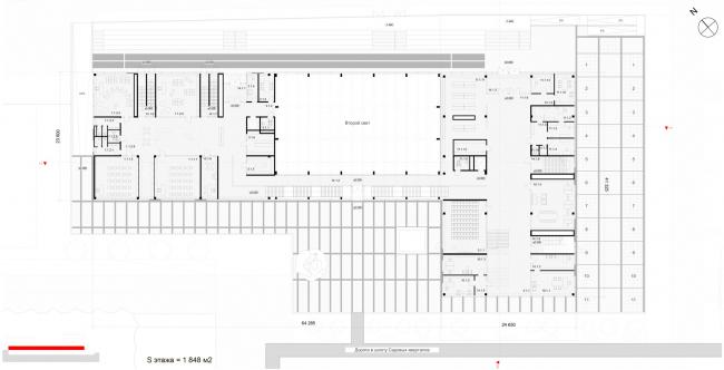 Пнлан 1-го этажа на отметке 0.00. Школа «Новый взгляд» в составе ЖК «Садовые кварталы», 2020