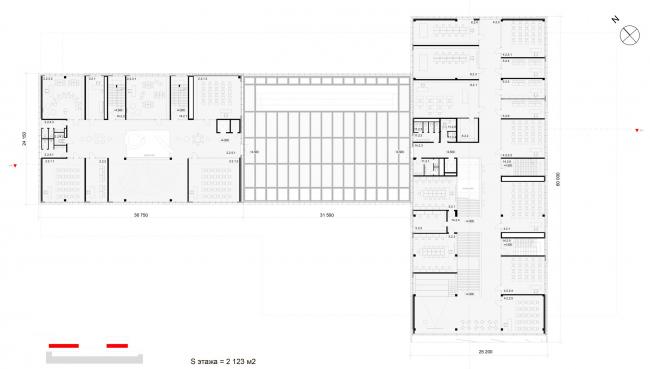 План 2-го этажа на отметке +4.500. Школа «Новый взгляд» в составе ЖК «Садовые кварталы», 2020