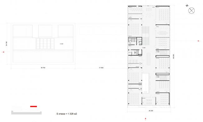 План 4-го этажа на отметке +13.500. Школа «Новый взгляд» в составе ЖК «Садовые кварталы», 2020