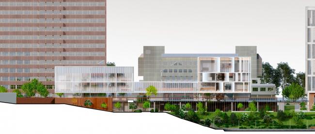 Схема юго-западного фасада. Школа «Новый взгляд» в составе ЖК «Садовые кварталы», 2020