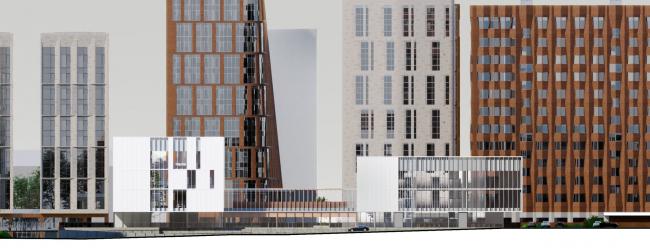 Схема северо-восточного фасада. Школа «Новый взгляд» в составе ЖК «Садовые кварталы», 2020