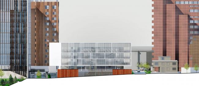 Схема юго-восточного фасада. Школа «Новый взгляд» в составе ЖК «Садовые кварталы», 2020