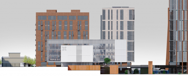 Схема северо-западного фасада. Школа «Новый взгляд» в составе ЖК «Садовые кварталы», 2020