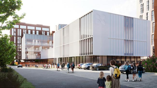 Вид со стороны 1-го Шибаевского проезда. Школа «Новый взгляд» в составе ЖК «Садовые кварталы», 2020