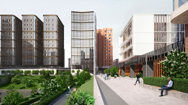 """View from the central zone, from the first quarter. The """"Novy Vzglyad"""" school as part of """"Garden Quarters"""", 2020"""
