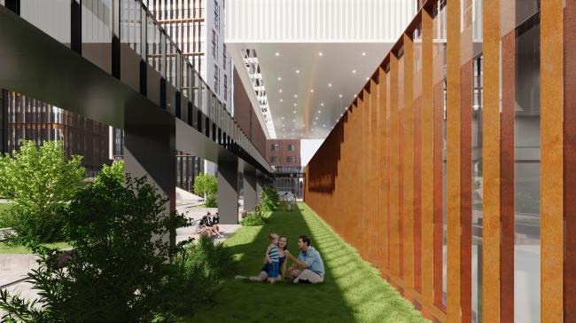 Вид вдоль дороги в школу (дорога в школу – слева). Школа «Новый взгляд» в составе ЖК «Садовые кварталы», 2020