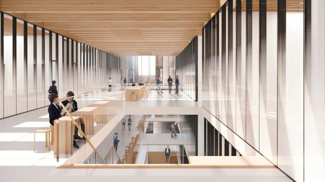 Вид на многосветное пространство. Школа «Новый взгляд» в составе ЖК «Садовые кварталы», 2020