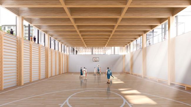 Спортивный зал. Школа «Новый взгляд» в составе ЖК «Садовые кварталы», 2020