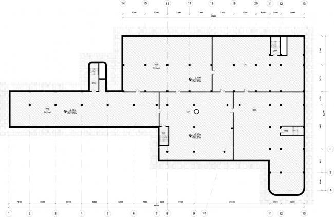 Школа в «Садовых Кварталах». Схема плана подземного этажа