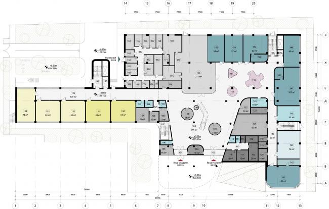 Школа в «Садовых Кварталах». Схема плана первого этажа
