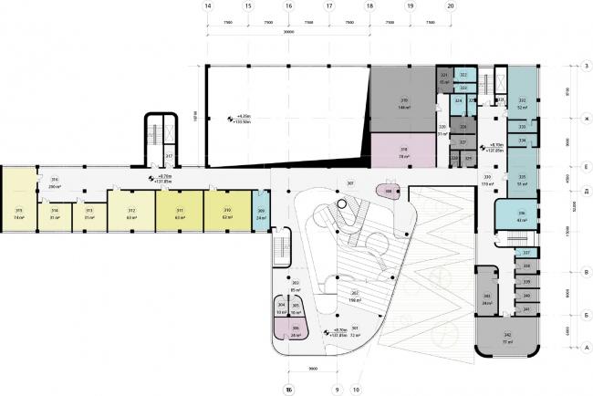 Школа в «Садовых Кварталах». Схема плана третьего этажа