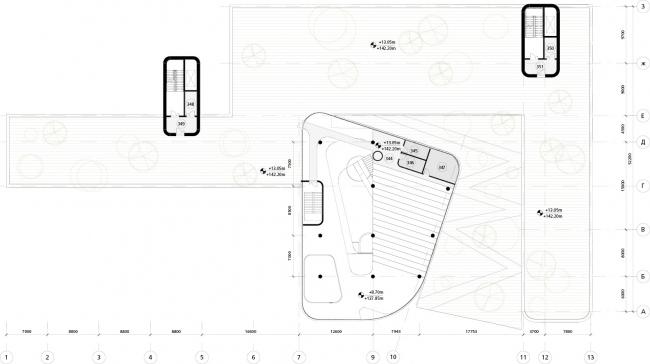 Школа в «Садовых Кварталах». Схема плана 3,5 этажа