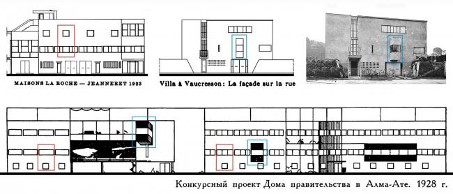 Илл.2. Леонидовский проект Дома правительства в Алма-Ате (1928) использует формальные темы домов Ля Рош-Жаннере (1923) (в красной рамке) и виллы в Вокрессоне (1922) (в синей рамке).