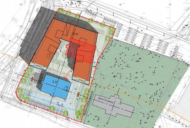 Схема перемещения исторического здания. Жилой дом на набережной Черной речки и Большой Невки