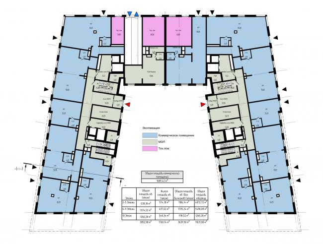План 1-го этажа. Жилой дом на набережной Черной речки и Большой Невки