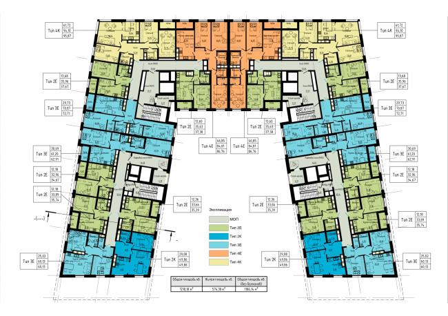 План 2-5 этажей. Жилой дом на набережной Черной речки и Большой Невки