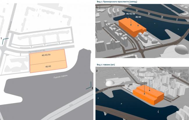 Схема анализа высотных ограничений Правила землепользования и застройки Санкт-Петербурга. Архитектурно-градостроительный облик гостиницы
