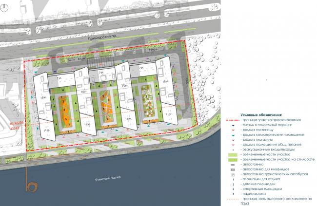 Схема генерального плана. Архитектурно-градостроительный облик гостиницы