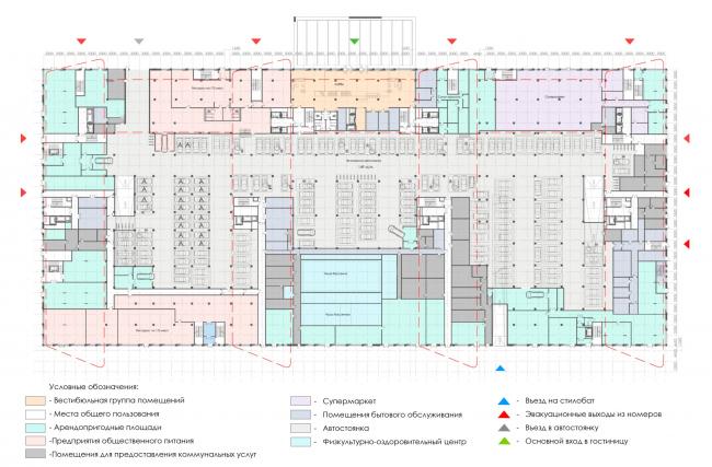 План 1-го этажа.  Архитектурно-градостроительный облик гостиницы