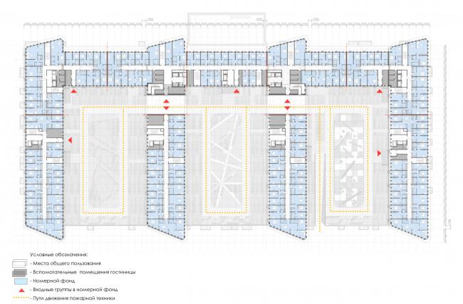 План 3-го этажа.  Архитектурно-градостроительный облик гостиницы