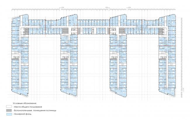 План 5-7 этажей.  Архитектурно-градостроительный облик гостиницы
