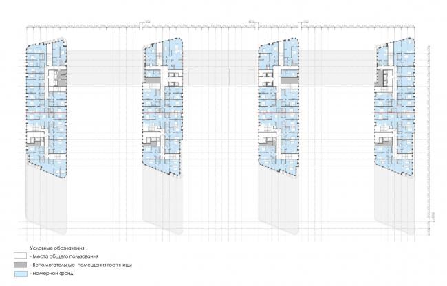 План 8-11 этажей.  Архитектурно-градостроительный облик гостиницы