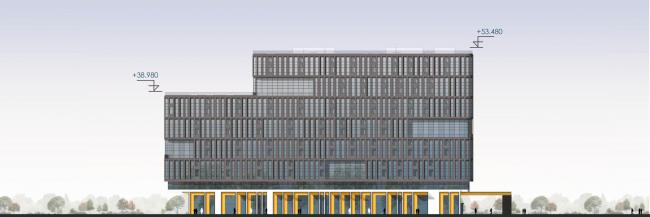 Восточный фасад. Архитектурно-градостроительный облик гостиницы
