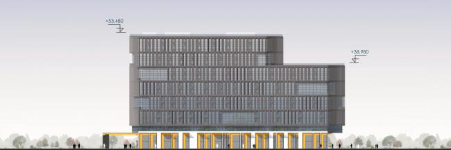 Западный фасад. Архитектурно-градостроительный облик гостиницы
