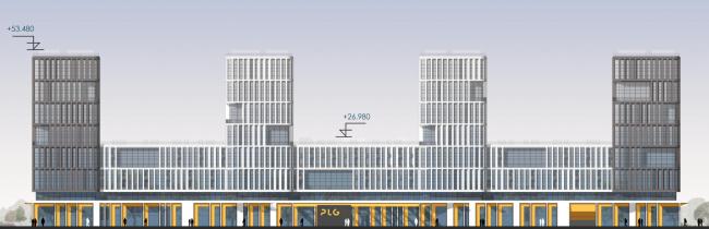 Северный фасад, по Приморскому проспекту. Архитектурно-градостроительный облик гостиницы