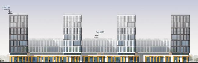 Южный фасад, по набережной. Архитектурно-градостроительный облик гостиницы