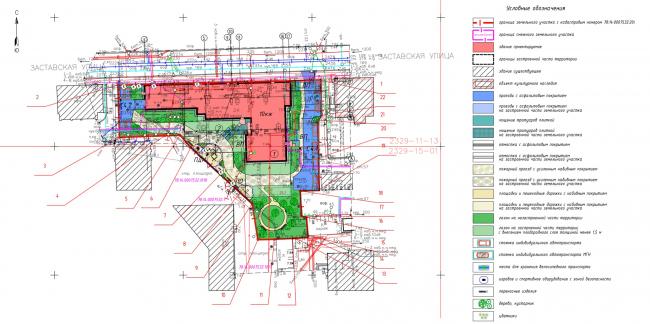 Схема планируемого местоположения на земельном участке. Жилой дом на Заставской (градсовет 17.07.2020)