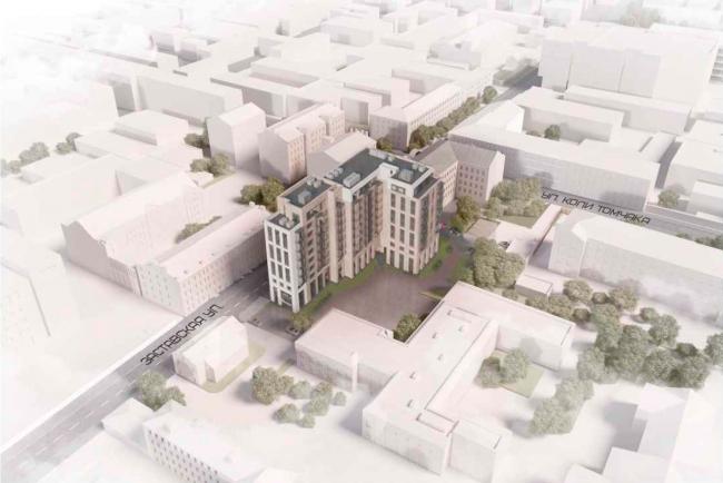 Панорамный вид сверху. Жилой дом на Заставской (градсовет 17.07.2020)