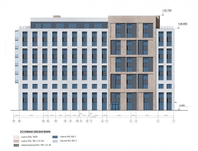 Фасад в осях 17-1. Жилой дом на Заставской (градсовет 17.07.2020)