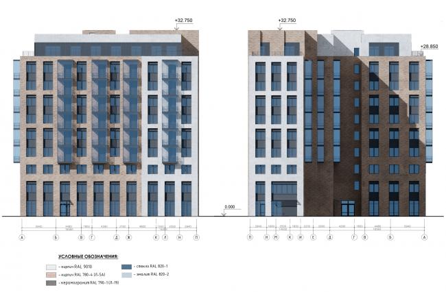 Фасад в осях А-П, П-А. Жилой дом на Заставской (градсовет 17.07.2020)