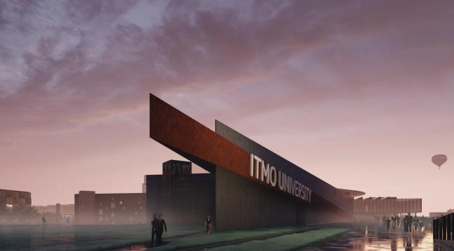 Кампус университета ИТМО. Главный учебный корпус. Музей и его острый «нос», обращенный в сторону вокзала и города, и служащий вывеской