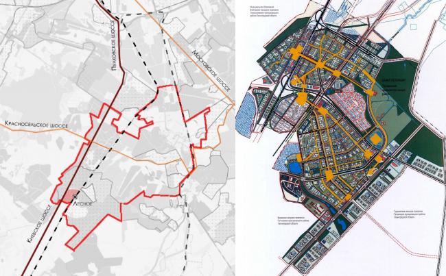 Кампус университета ИТМО. Слева ситуационный план, слева мастер-план города Южного
