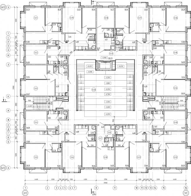 Кампус университета ИТМО. Общежития. Второй блок. План второго этажа