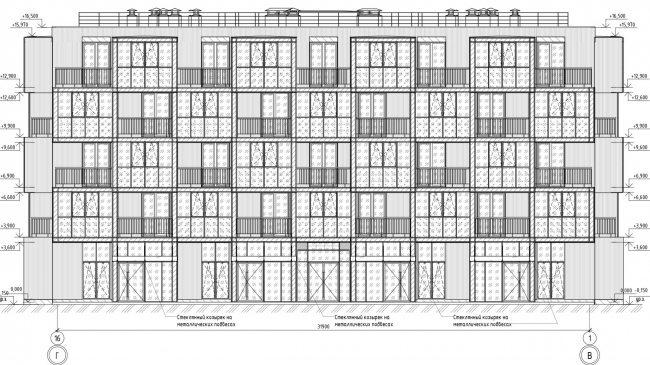 Кампус университета ИТМО. Общежития. Второй блок. Фасад 1-16