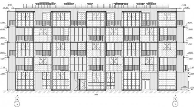 Кампус университета ИТМО. Общежития. Второй блок. Фасад А-У
